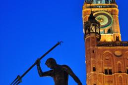 Gdansk, Polonia - Fantana lui Neptun si Turnul Primariei